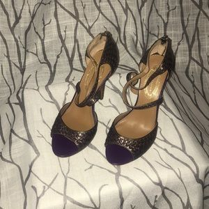 Purple shimmer  heels with leather design